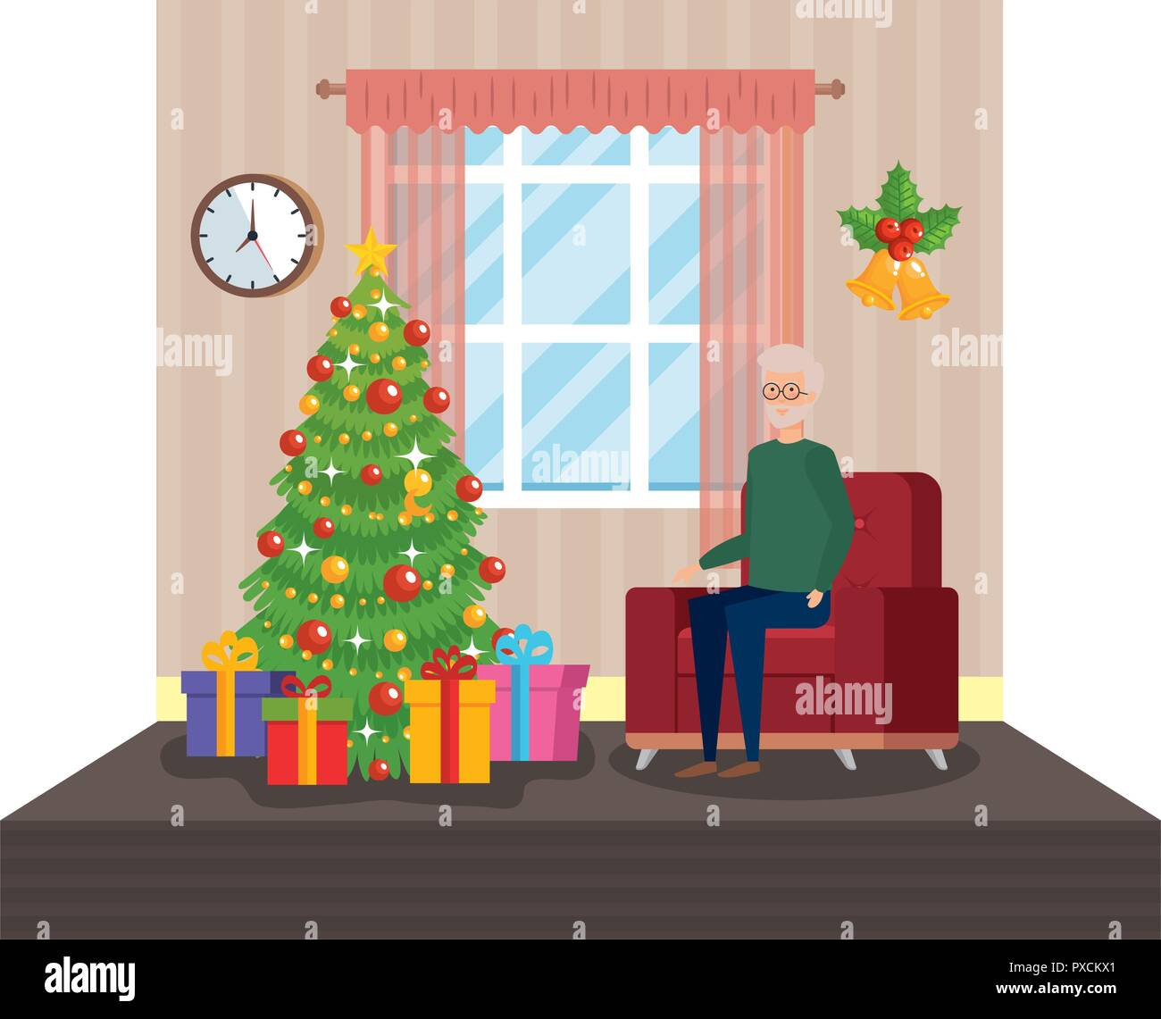 grandfather in livingroom with christmas decoration - Stock Image