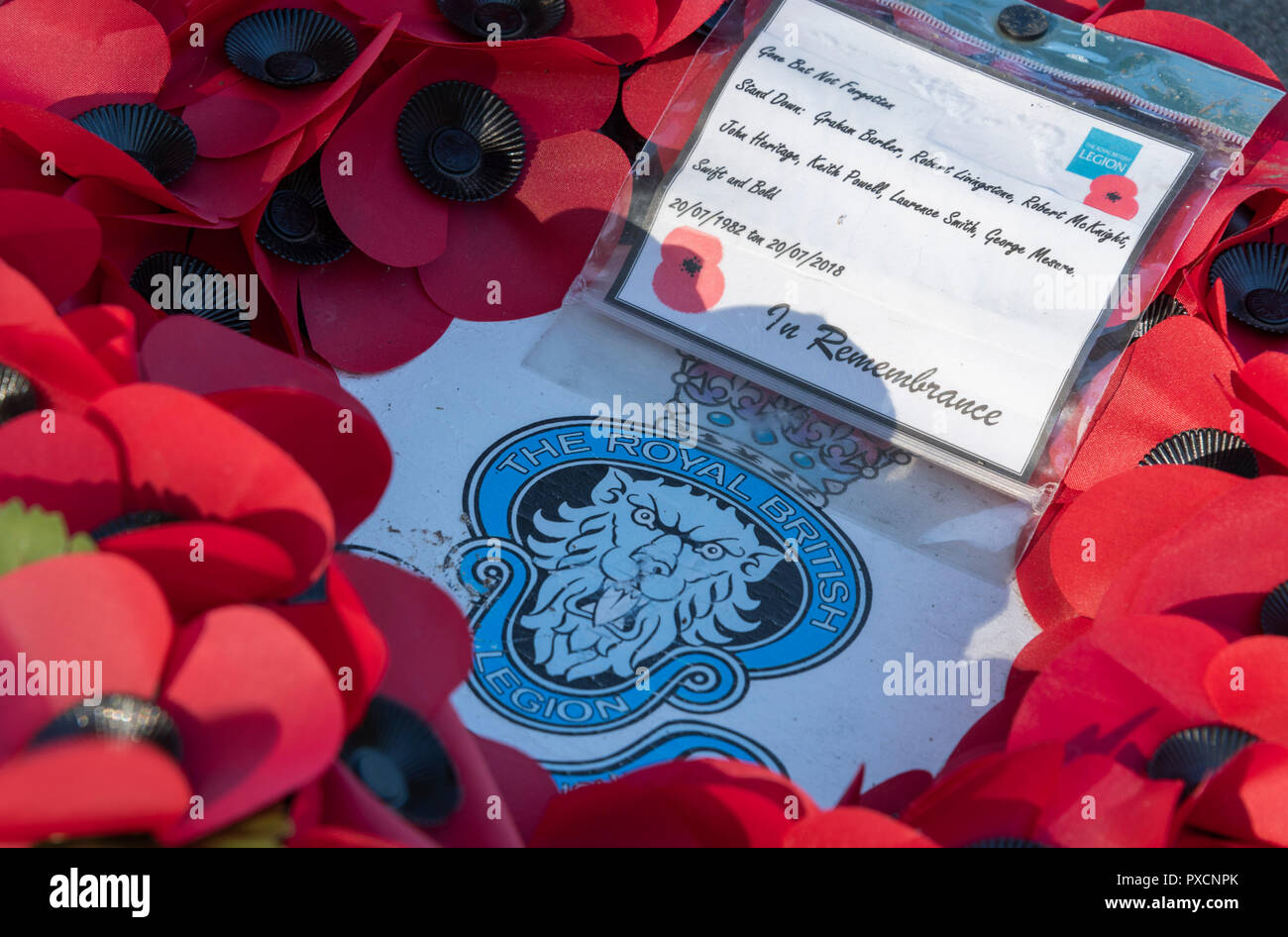 The Royal British Legion Poppy wreath tribute at the bandstand Regent's Park London UK to those who died terrorist attack July 1982 - Stock Image