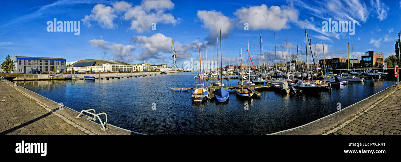 Panorama of the marina or harbour in the city of Wismar in Germany baltic sea - Stock Image