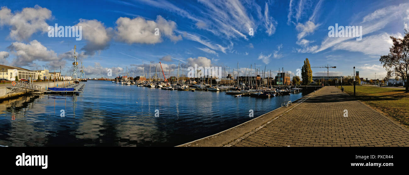 Panorama of the marina or harbour in the city of Wismar in Germany baltic sea Stock Photo
