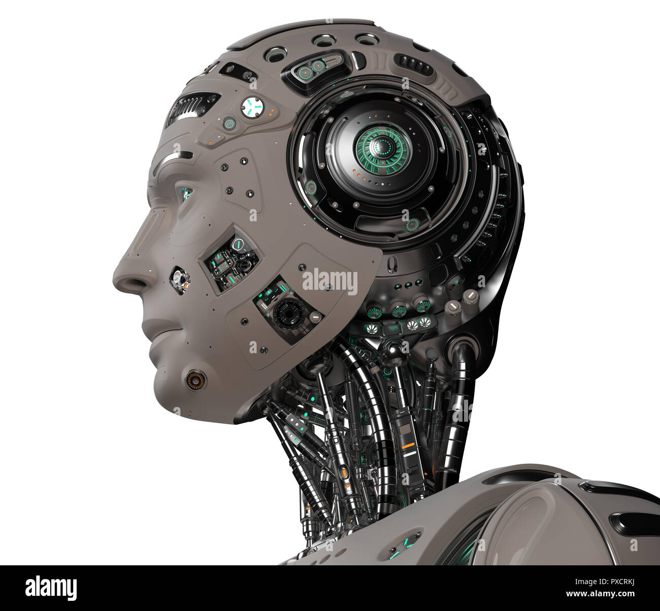 Detailed futuristic robot head. Isolated on white background. 3D Render. - Stock Image