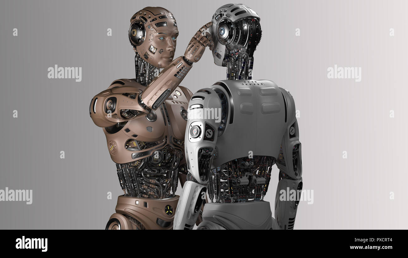 Futuristic robot man touching the head of another identical robot or asking another cyborg to use his brain. 3D Render. - Stock Image