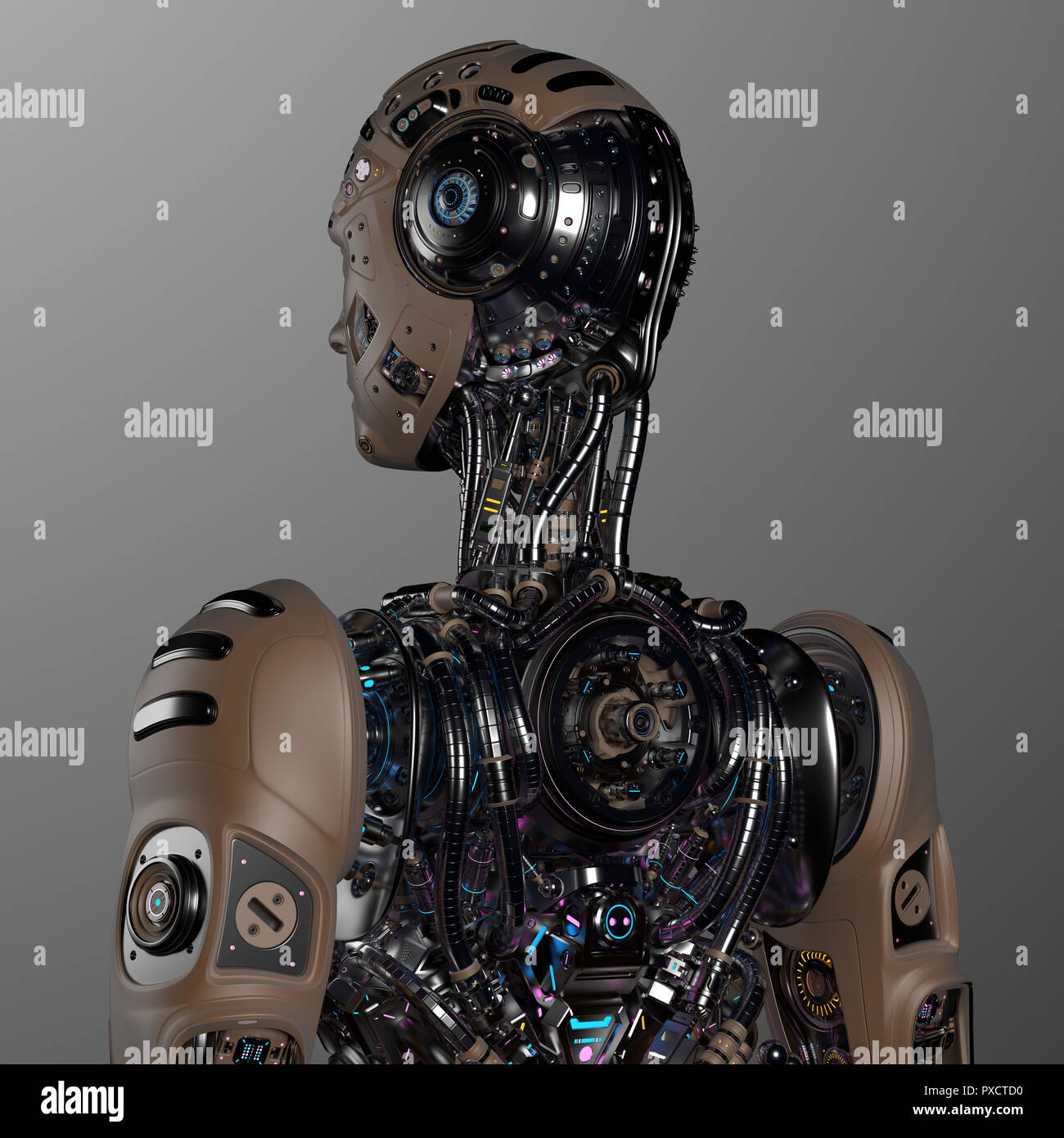 Futuristic Robot Man. back view. Isolated on gray background. 3D Render - Stock Image