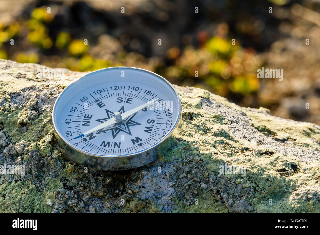 Reliable compass on the stone in tundra. Concept for travelling and active lifestyle - Stock Image