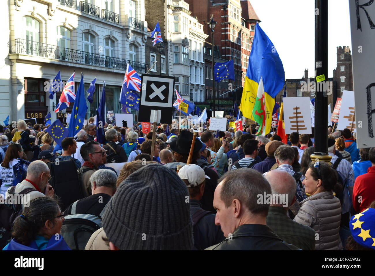 Anti-Brexit, People's Vote march in London. October 20, 2018. The protest attracted about 675,000 people. Demonstrators do not want UK to leave the EU Stock Photo
