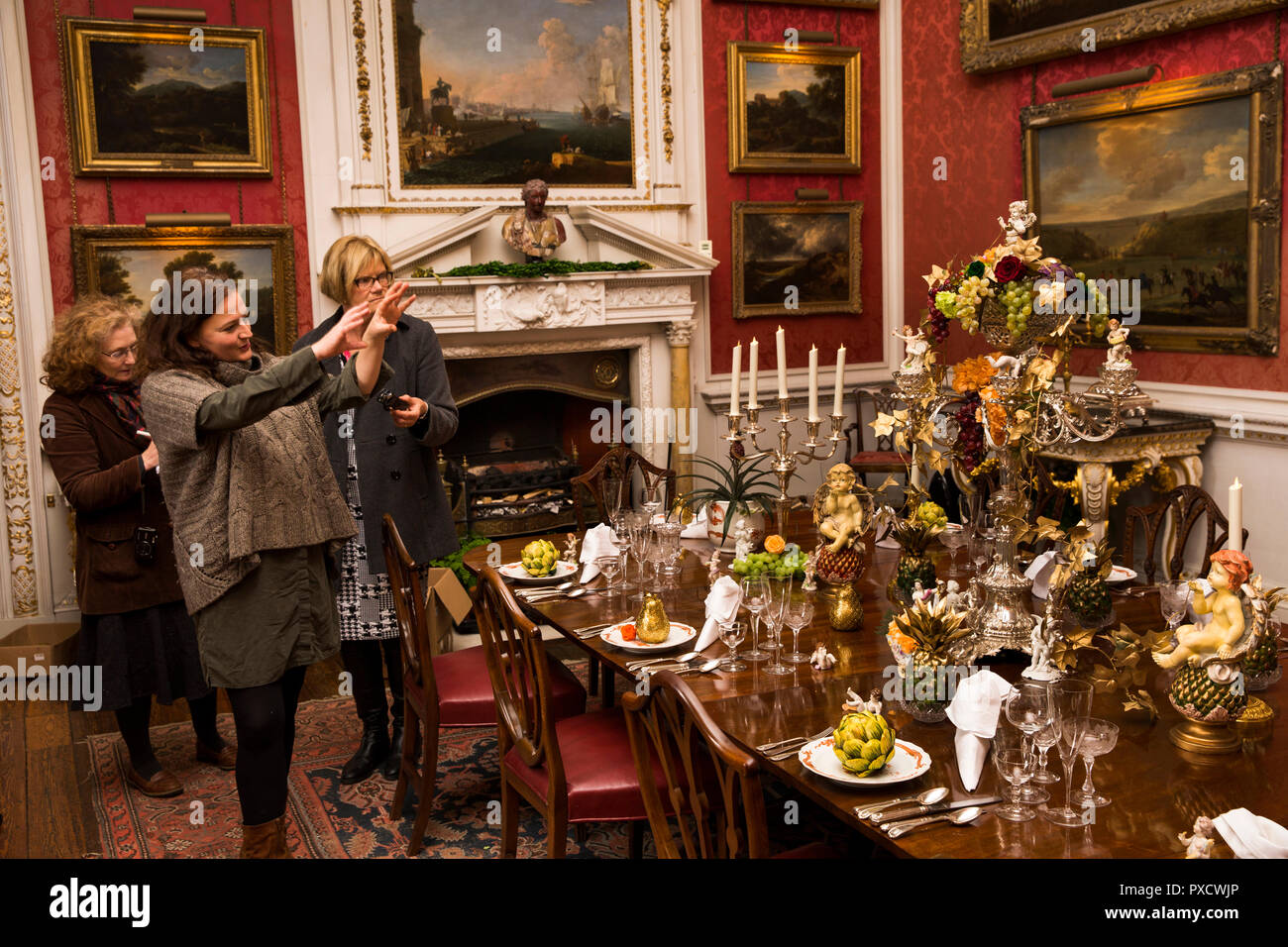 UK England Yorkshire Castle Howard At Christmas Crimson Dining Room Charlotte Lloyd Webber Talking About Table And Decorations