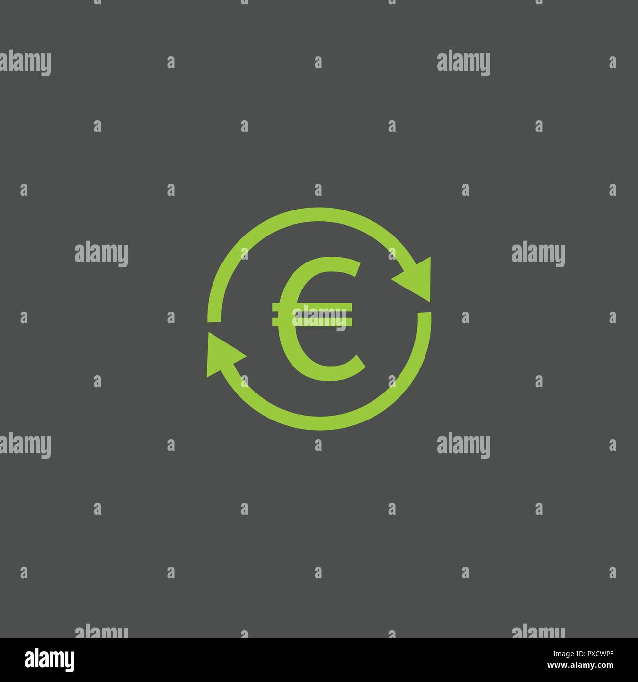 Exchange euro icon, lime, green color, gray background Vector Stock