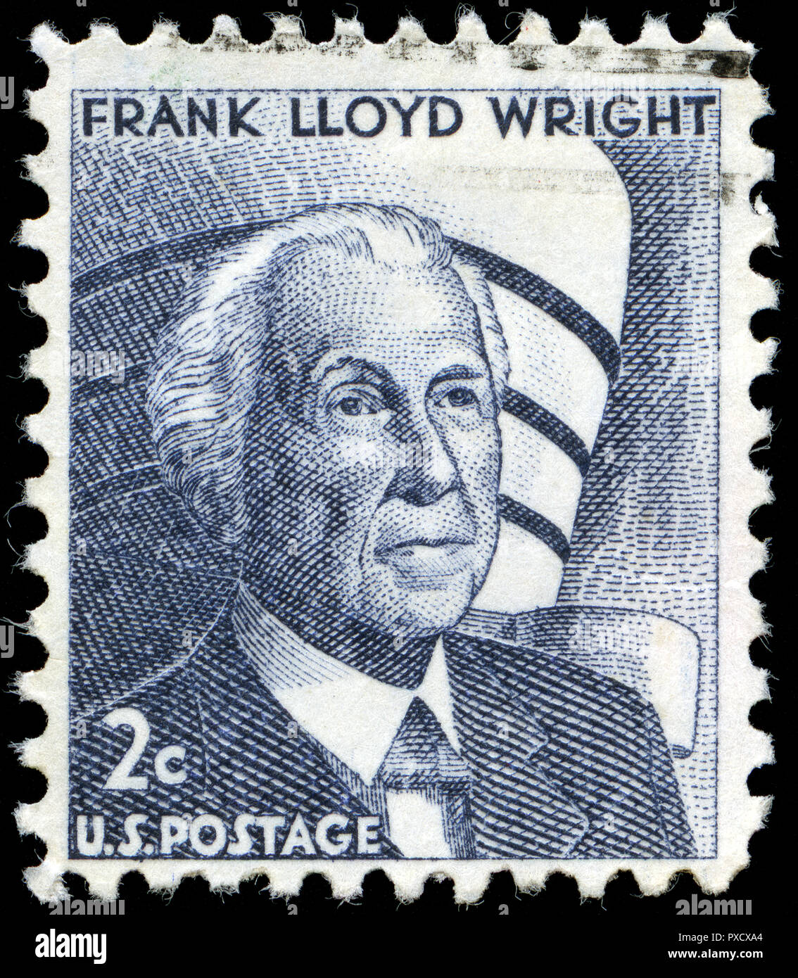 Postmarked stamp from United States of America (USA) in the Famous Americans series issued in - Stock Image