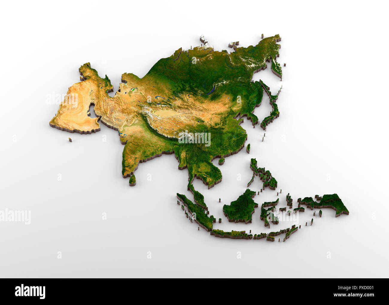 Realistic 3D Extruded Map of Asian Continent (including Indian sub-continent, East Asia, Russia and Middle-East) - Stock Image