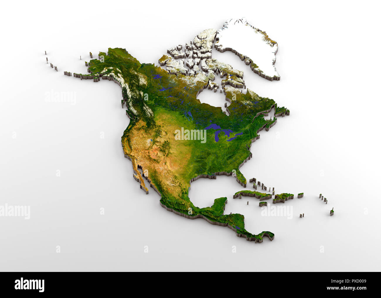 Realistic 3d Extruded Map Of North America North American Continent