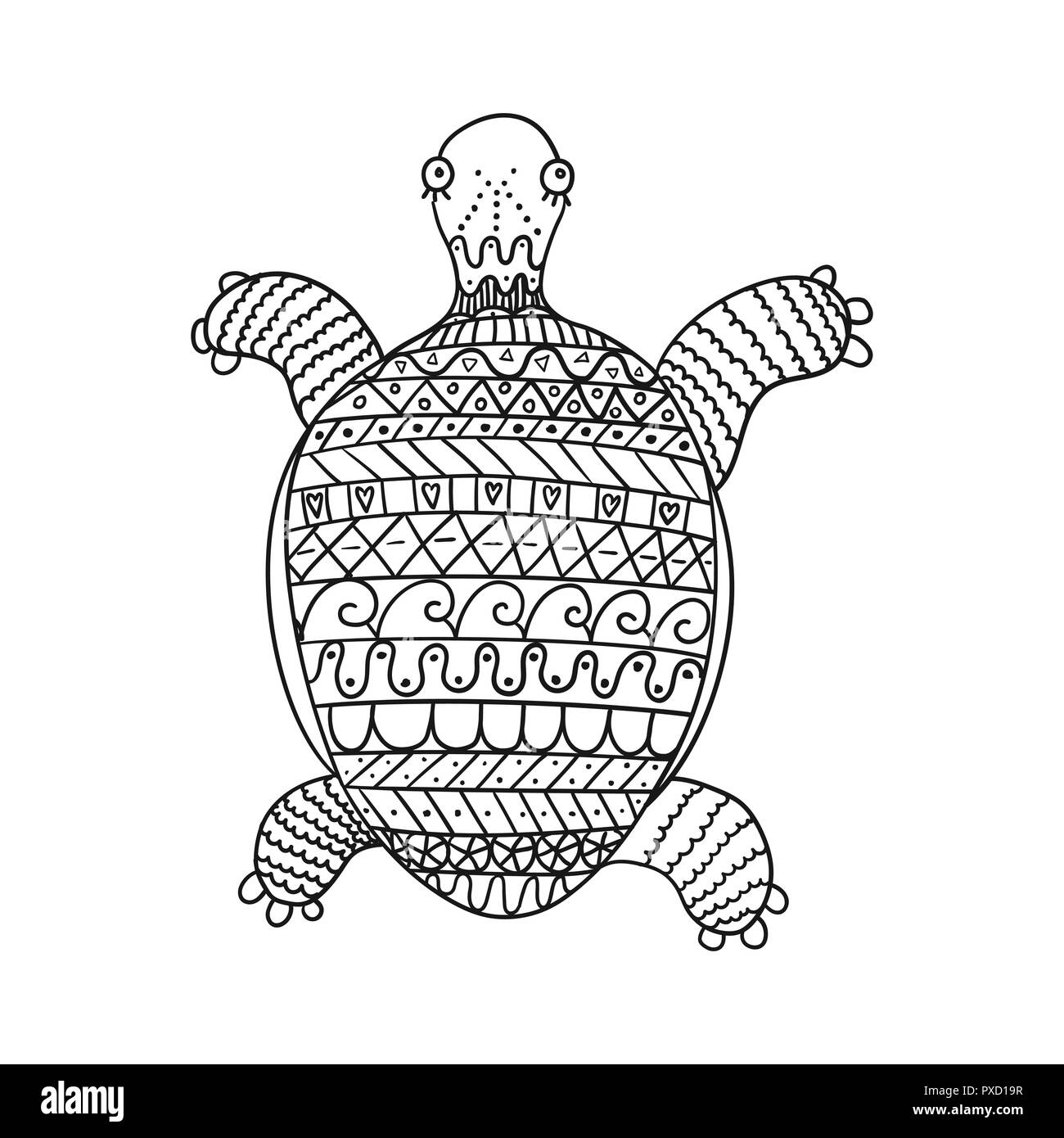 Stylized turtle isolated on white background. Freehand ornamental ...