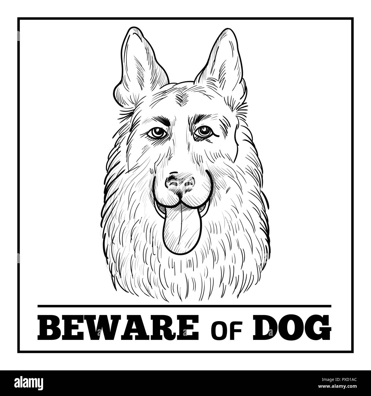 German Shepherd portrait with beware sign. Watchdog face hand drawn sketch isolated on white background. Beware of dog sign. - Stock Vector