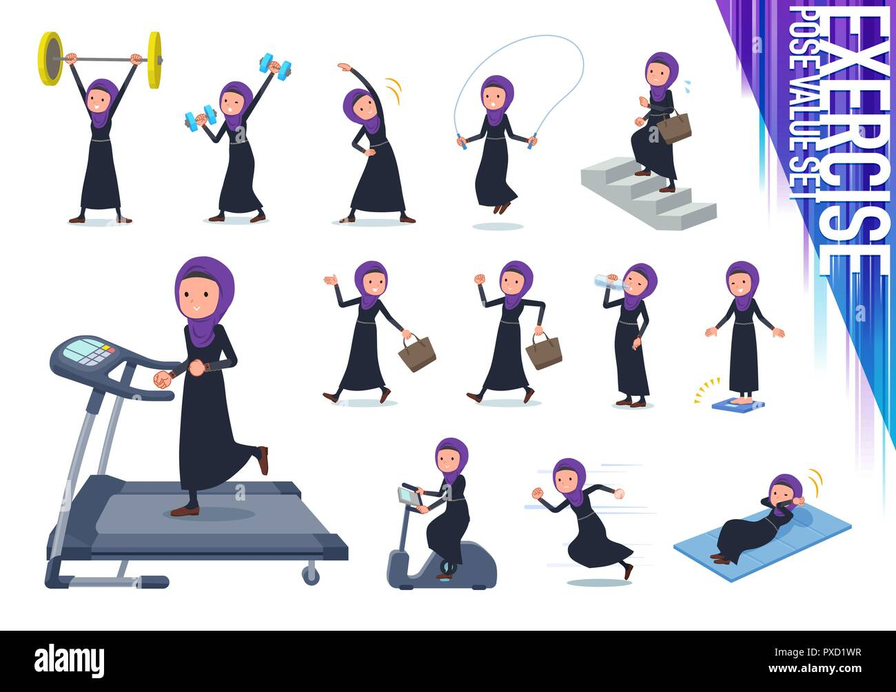 A set of women wearing hijab on exercise and sports.There are various actions to move the body healthy.It's vector art so it's easy to edit. - Stock Vector