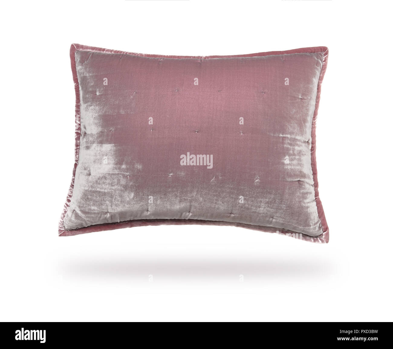 Pillow of velor fabric, isolated on white background Stock Photo