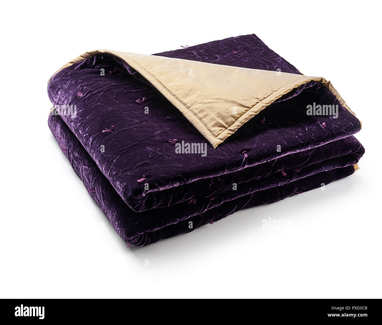Purple blanket made of velor fabric, neatly folded, isolated on white background Stock Photo