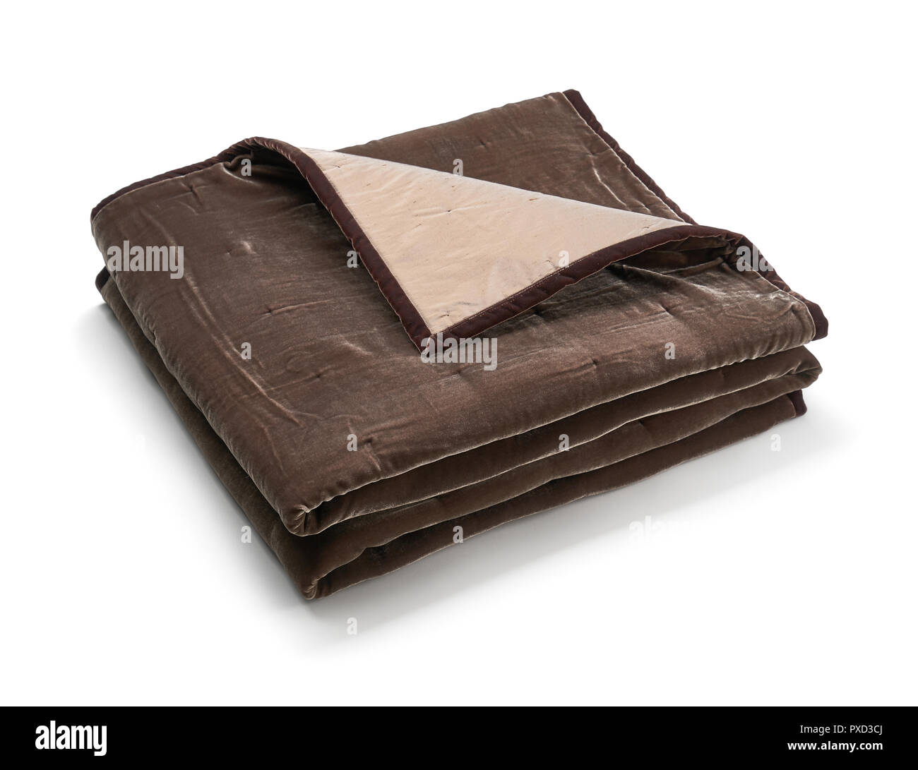 Brown blanket made of velor fabric, neatly folded, isolated on white background Stock Photo