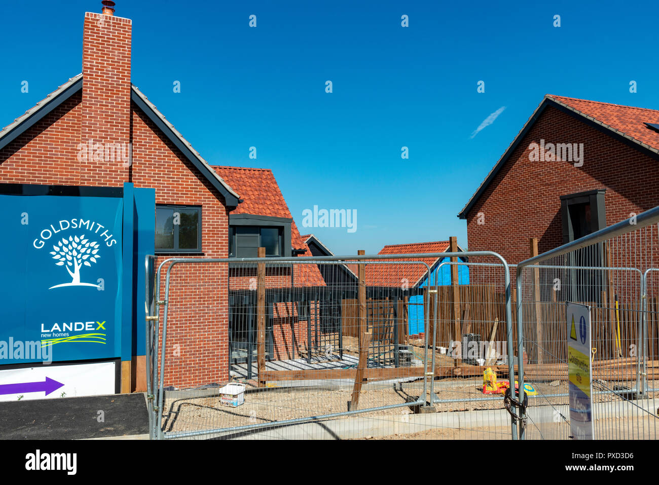 New homes under construction, Ufford, Suffolk, UK. - Stock Image
