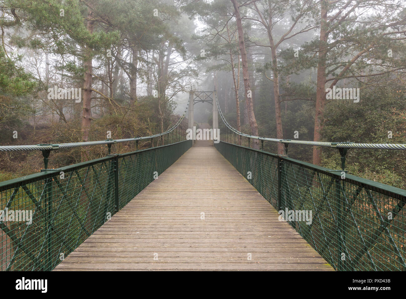 Bournemouth footbridge in the mist over a chime - Stock Image