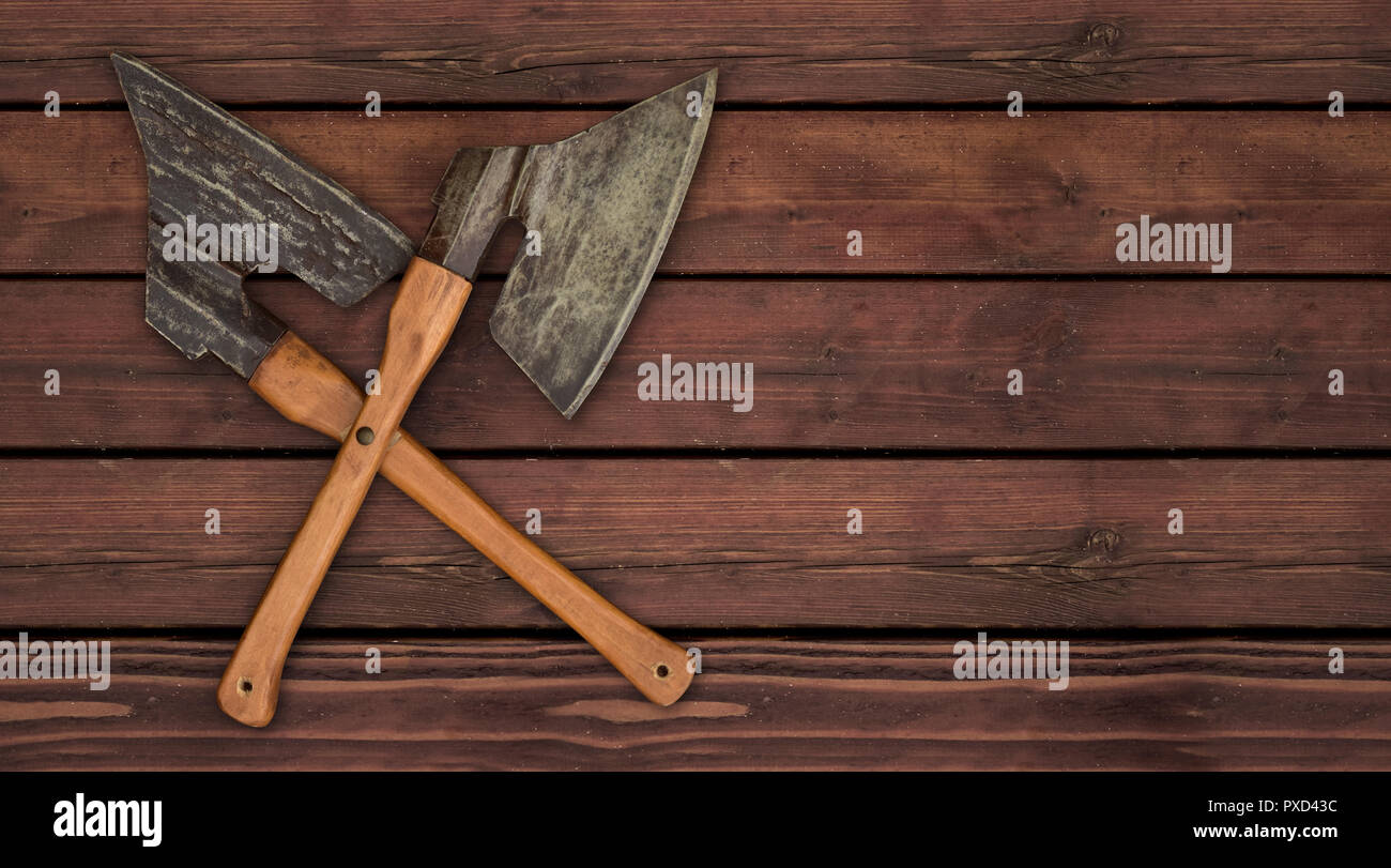 axes ax knife crossed butcher craftmanship meat - Stock Image