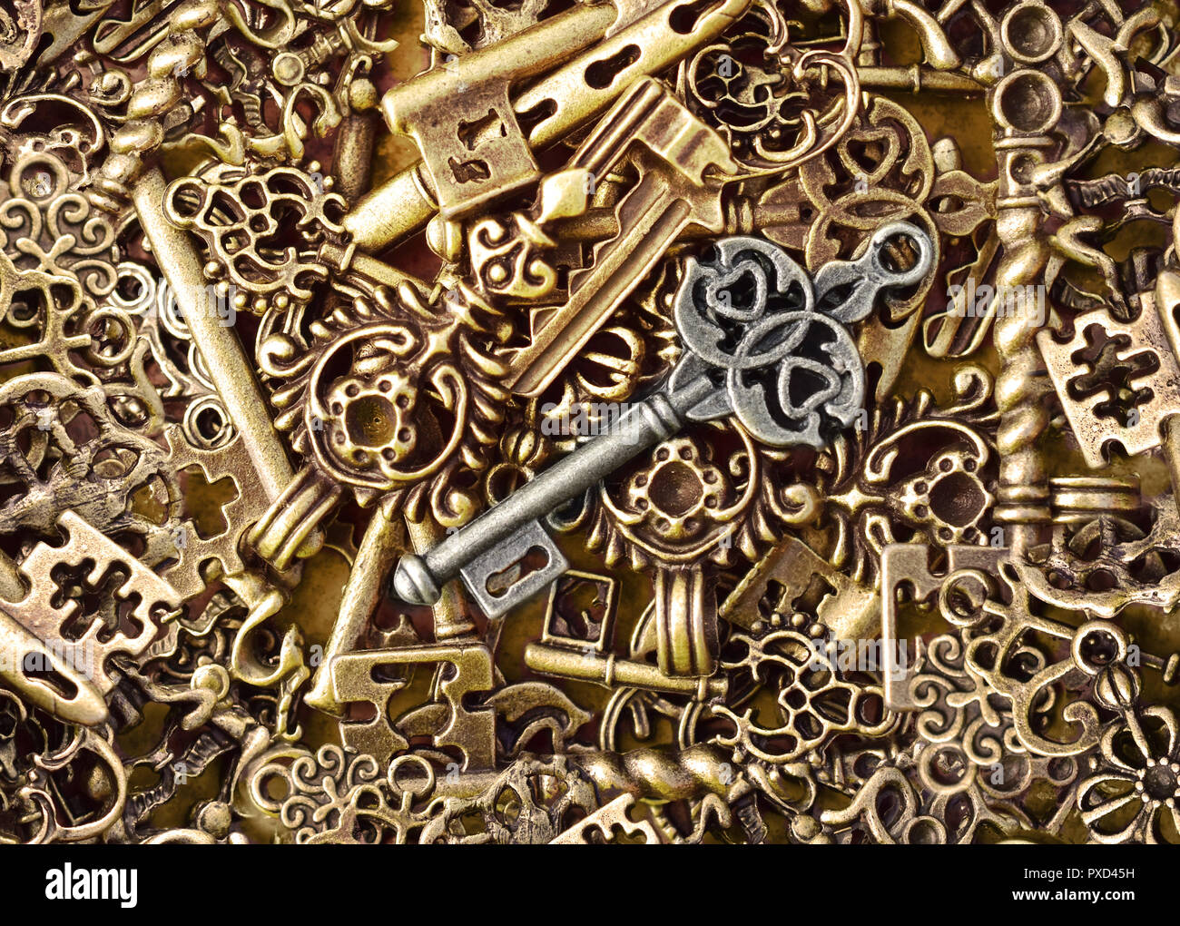 key lock bunch keychain locks unlock sense - Stock Image