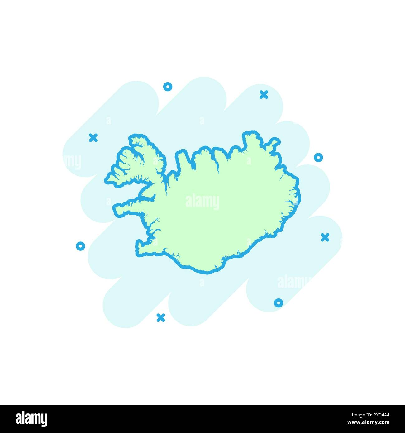 Vector cartoon Iceland map icon in comic style. Iceland sign ...