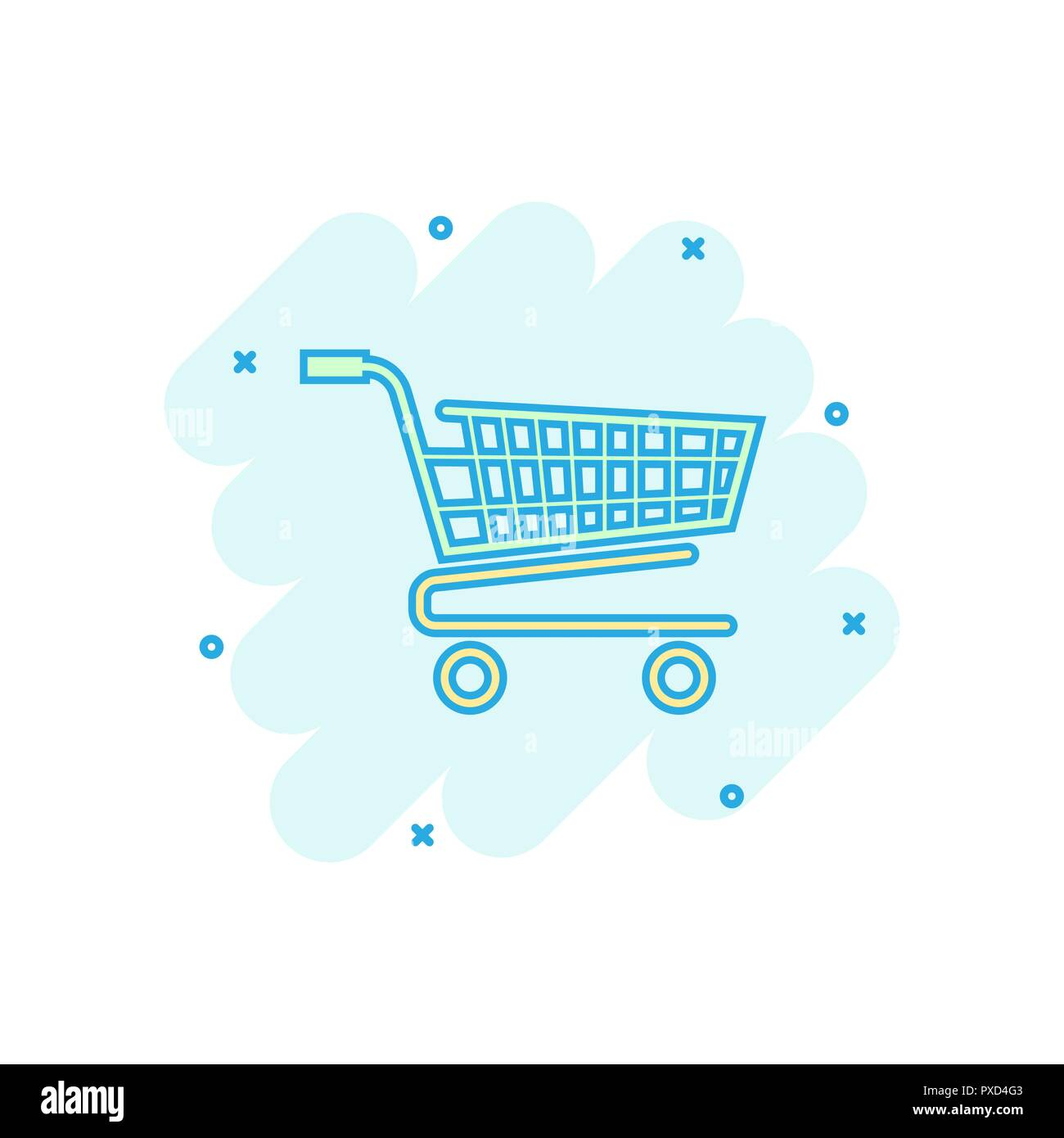 Vector cartoon shopping cart icon in comic style. Shop bag sign illustration pictogram. Mall business splash effect concept. - Stock Vector