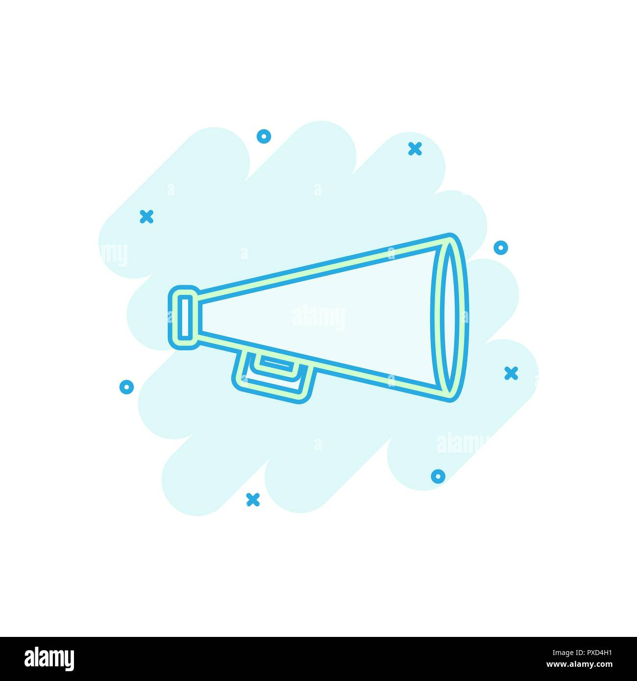 Vector cartoon megaphone icon in comic style. Bullhorn sign illustration pictogram. Megaphone business splash effect concept. - Stock Vector