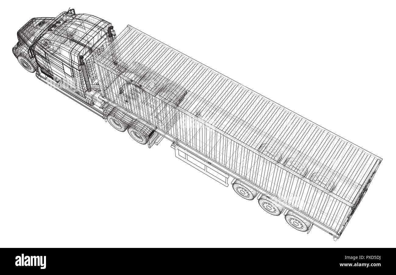 Top View Tractor Trailer Illustration Stock Photos Car Wiring Image Search Results Delivery Semi Truck Wire Frame Eps10 Format Vector Rendering Of