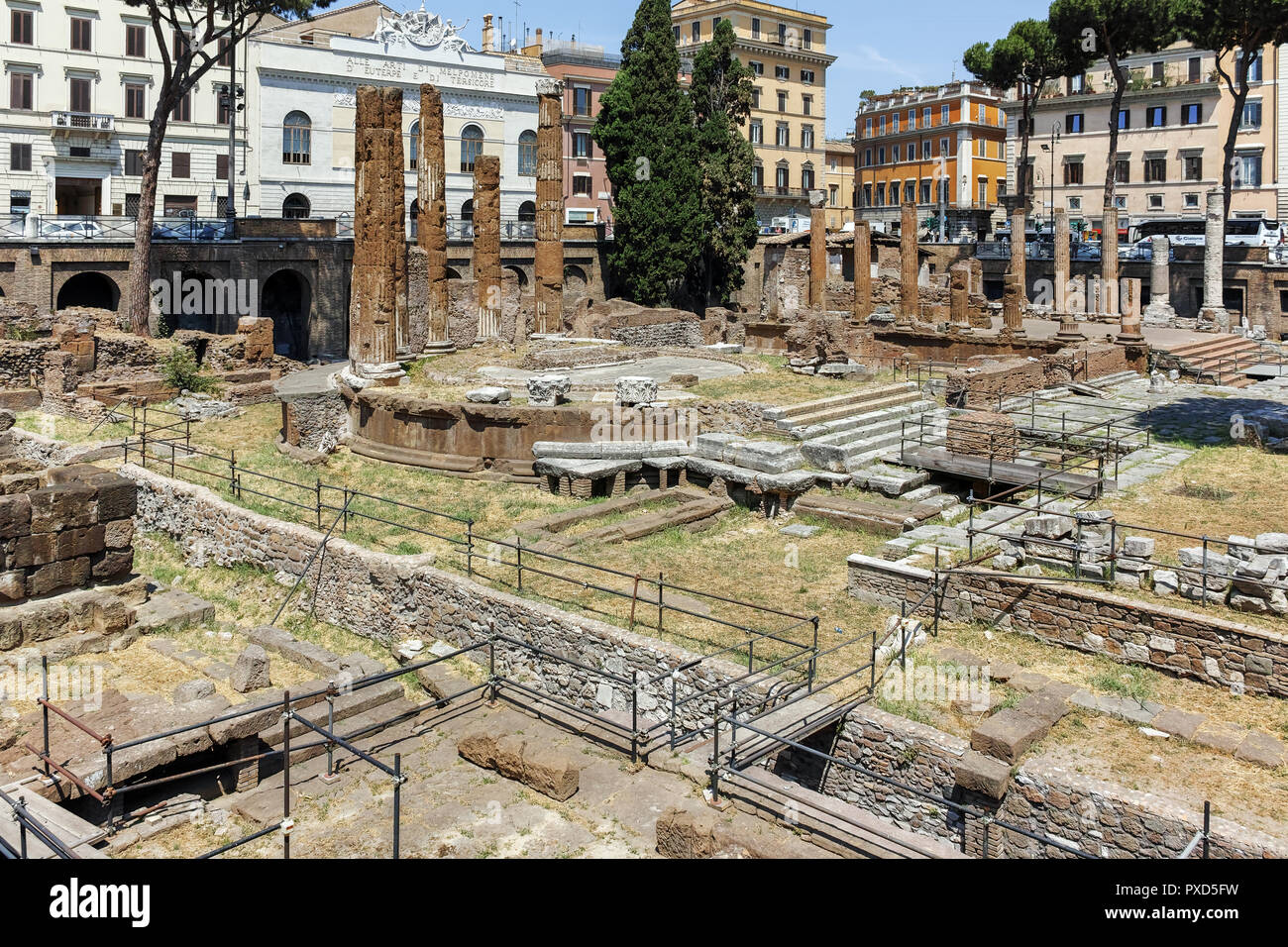 ROME, ITALY - JUNE 23, 2017: Amazing view of Largo di Torre Argentina in city of Rome, Italy - Stock Image
