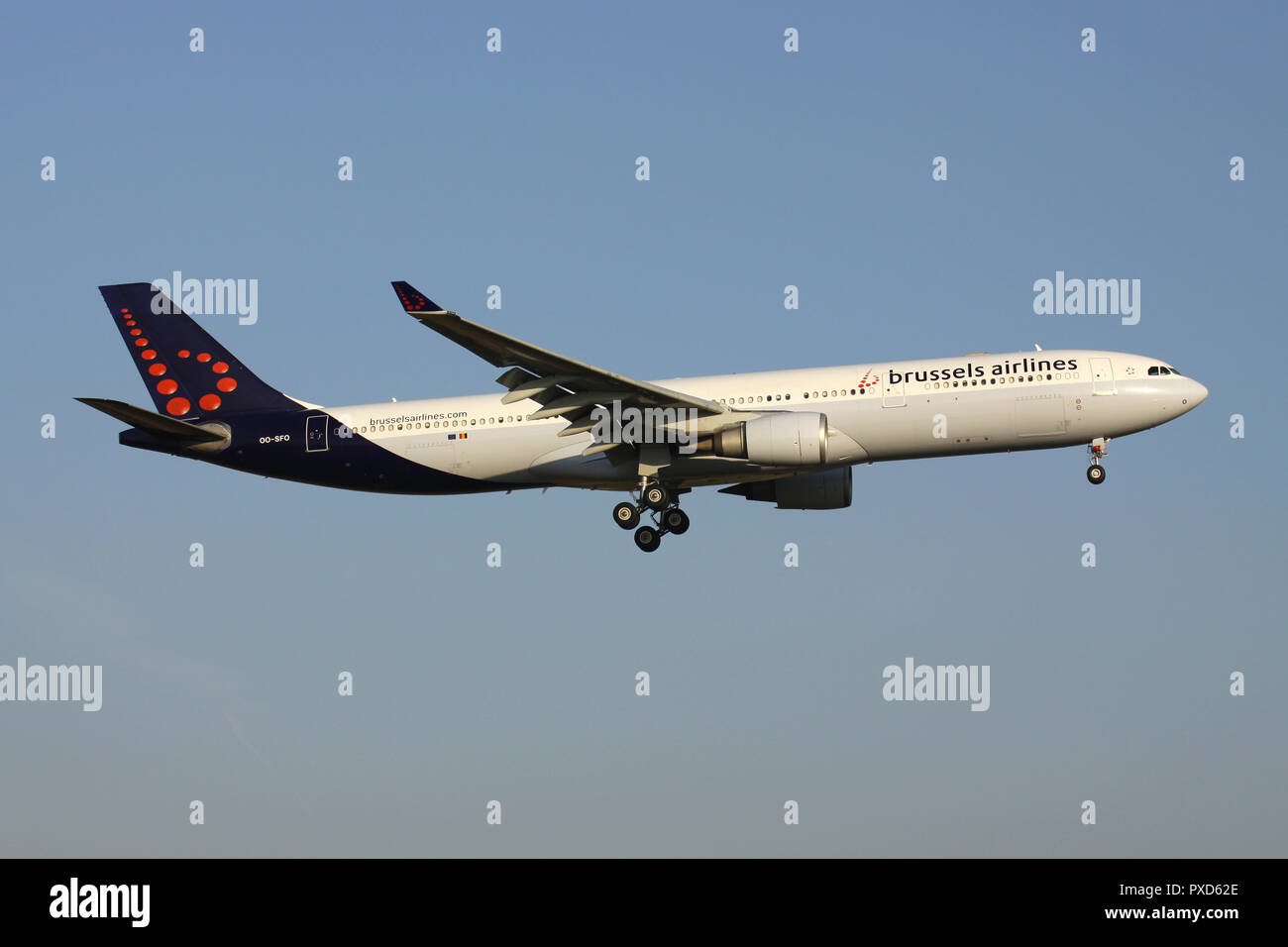 Belgian Brussels Airlines Airbus A330-300 with registration OO-SFO on short final for runway 01 of Brussels Airport. - Stock Image