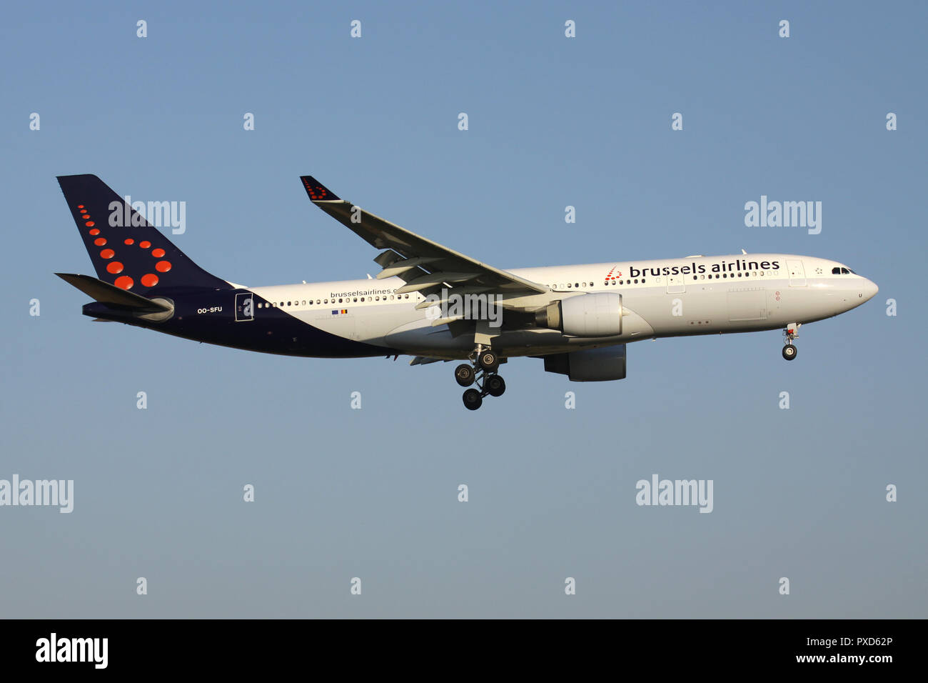 Belgian Brussels Airlines Airbus A330-200 with registration OO-SFU on short final for runway 01 of Brussels Airport. - Stock Image