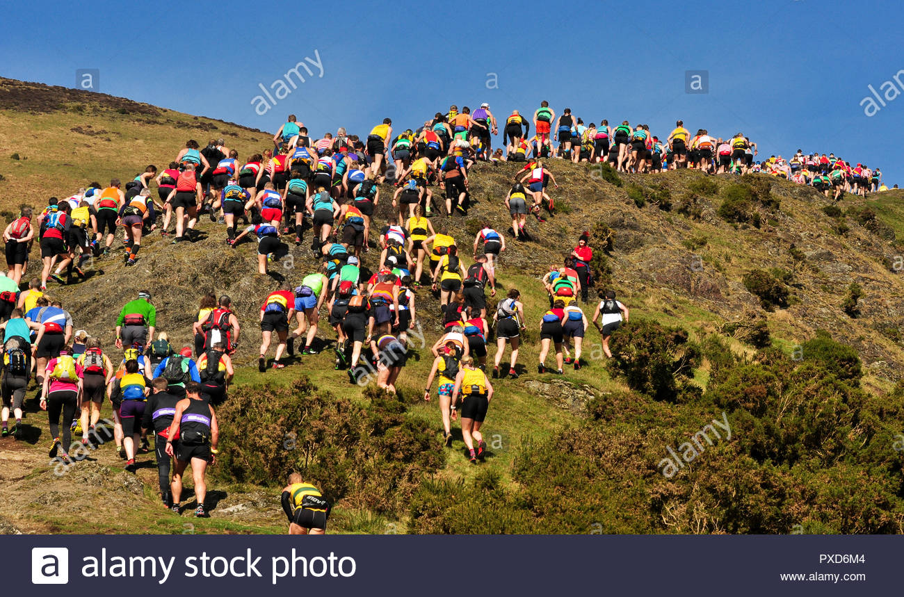 Fell runners taking part in the 2017 Long Mynd Valleys English Champs at Carding Mill Valley, Church Stretton, Shropshire, England, UK - Stock Image
