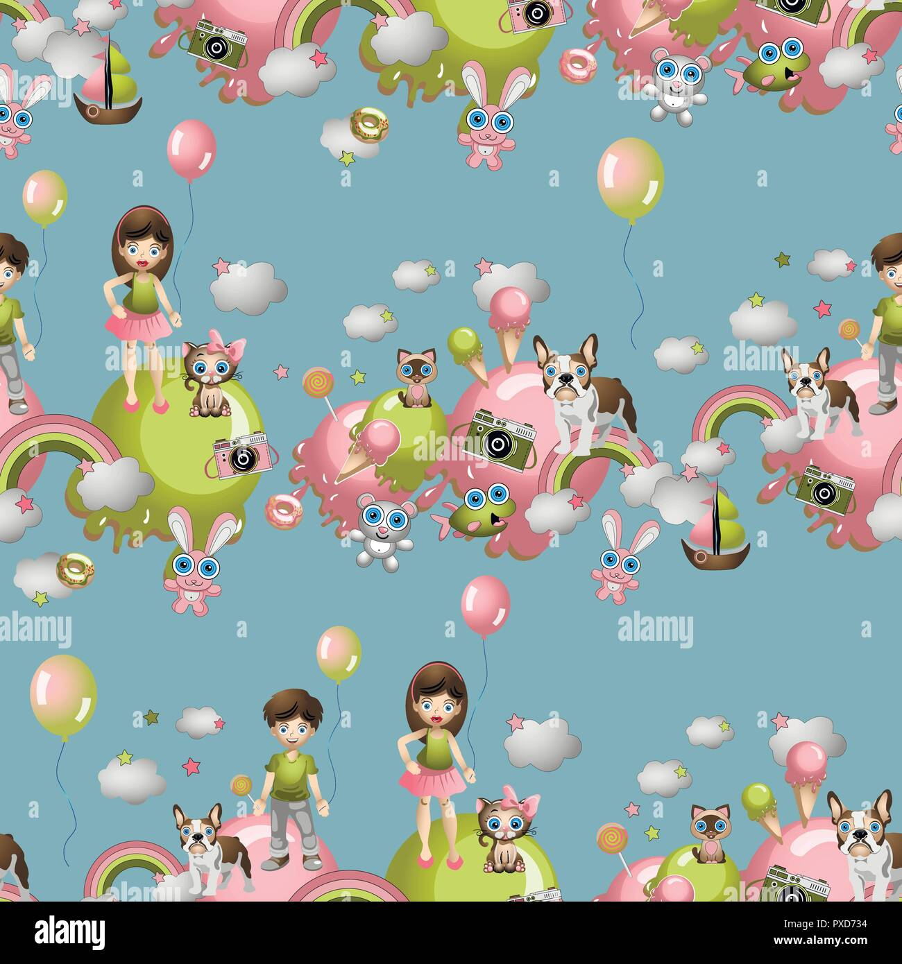 Seamless pattern in the cartoon style with children, toys, pets, sweets, ice cream, balloons. Child concept wallpaper texture.
