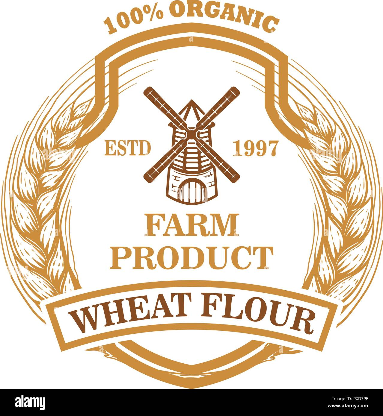 wheat flour label template with wind mill design element for logo