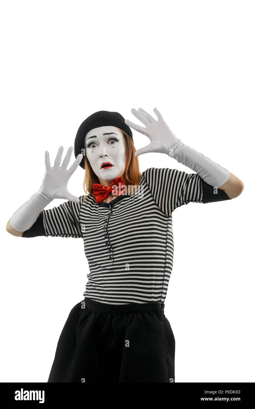 Vertical portrait of female mime - Stock Image