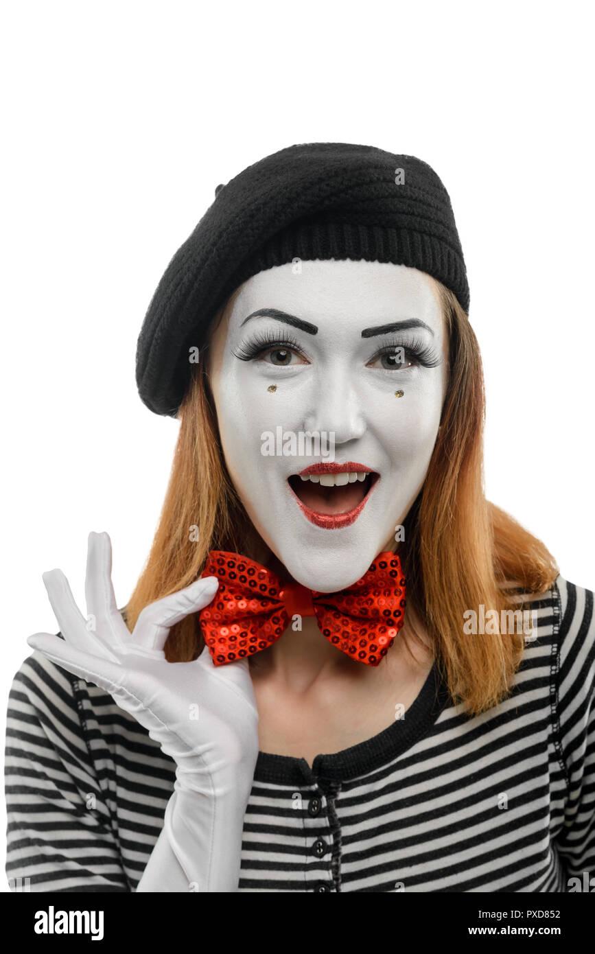 Happy female mime artist - Stock Image