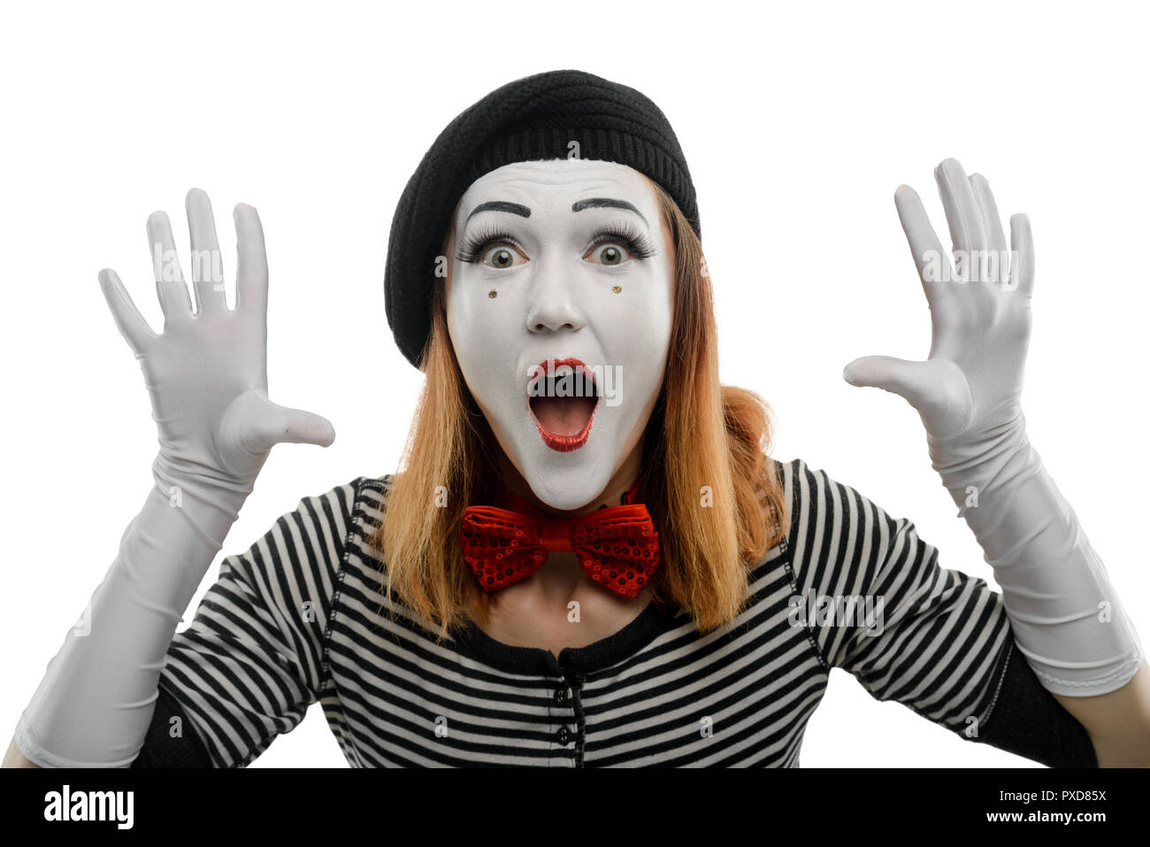 Female mime on white background - Stock Image