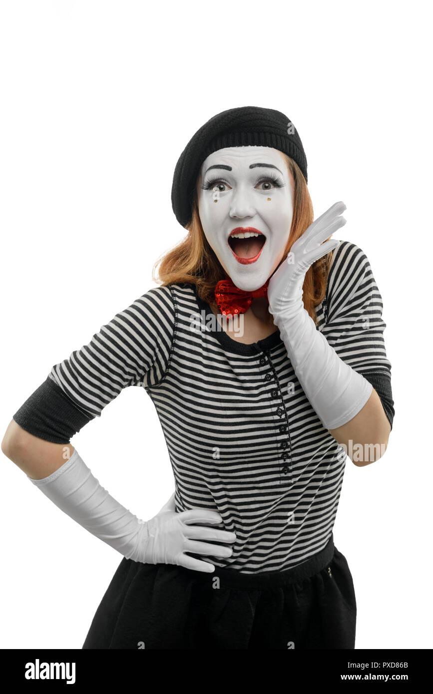 Happy female mime on white - Stock Image