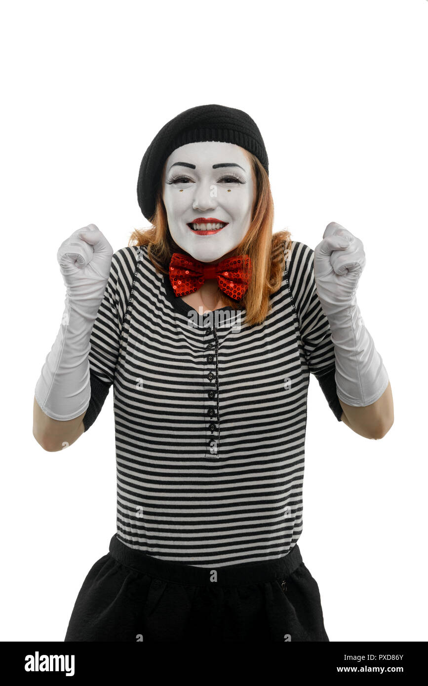 Portrait of delighted female mime - Stock Image