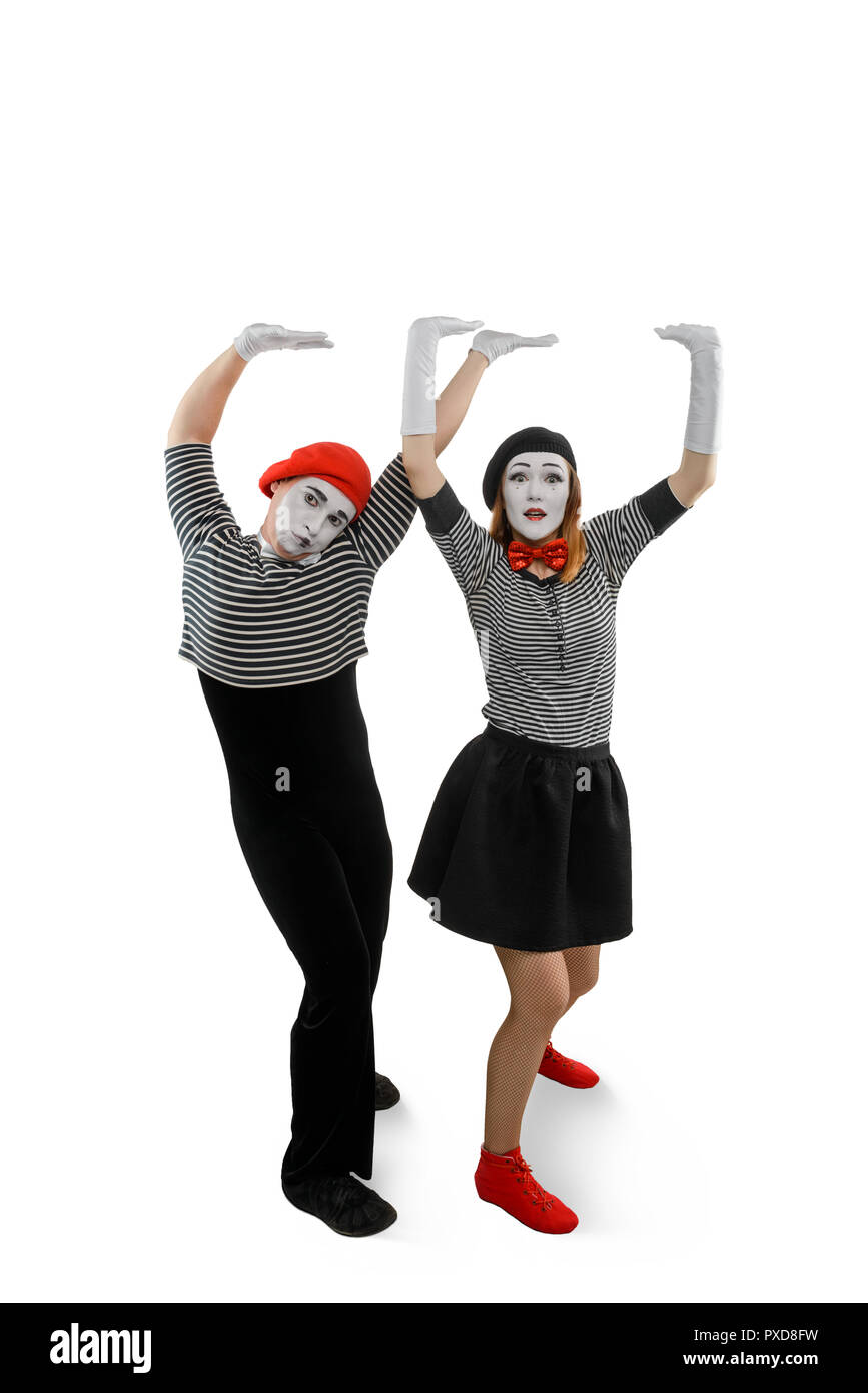 Portrait of mime performers - Stock Image