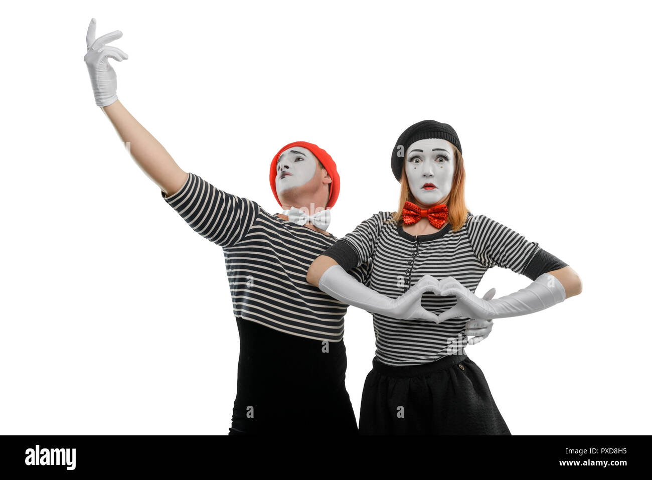 Mime couple in love - Stock Image