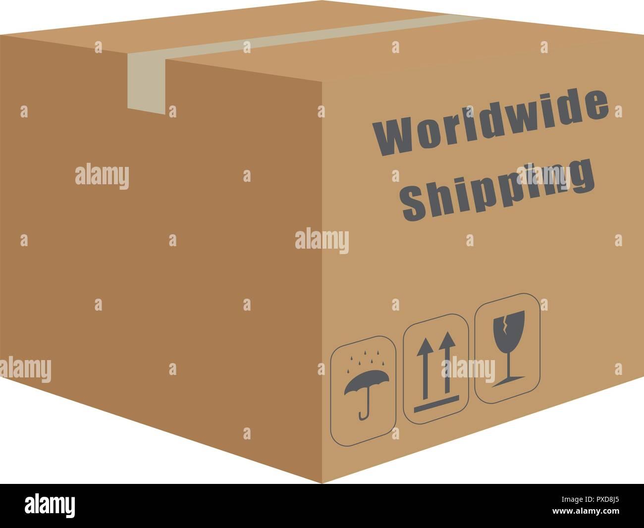 Vector of box cardboard transport - Stock Image