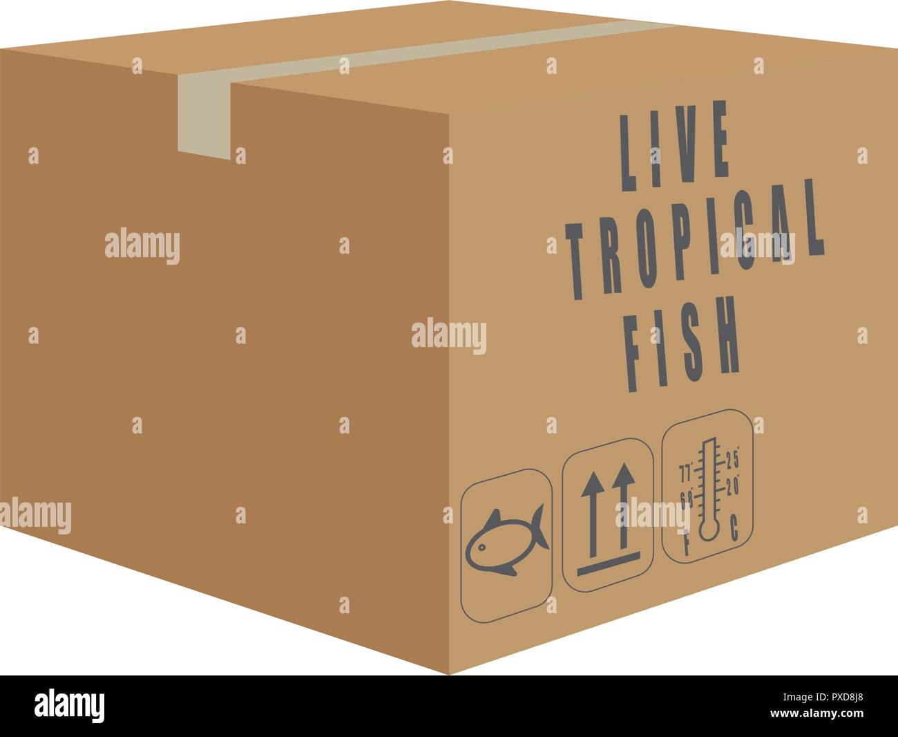 Vector of box of live tropical fish shipment - Stock Image