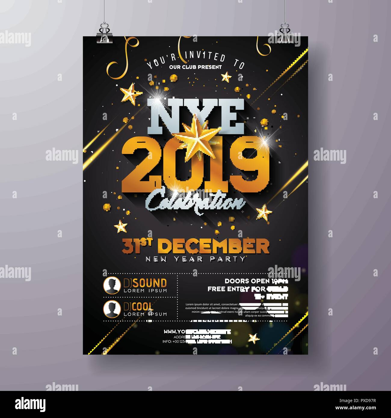 2019 New Year Party Celebration Poster Template Illustration With