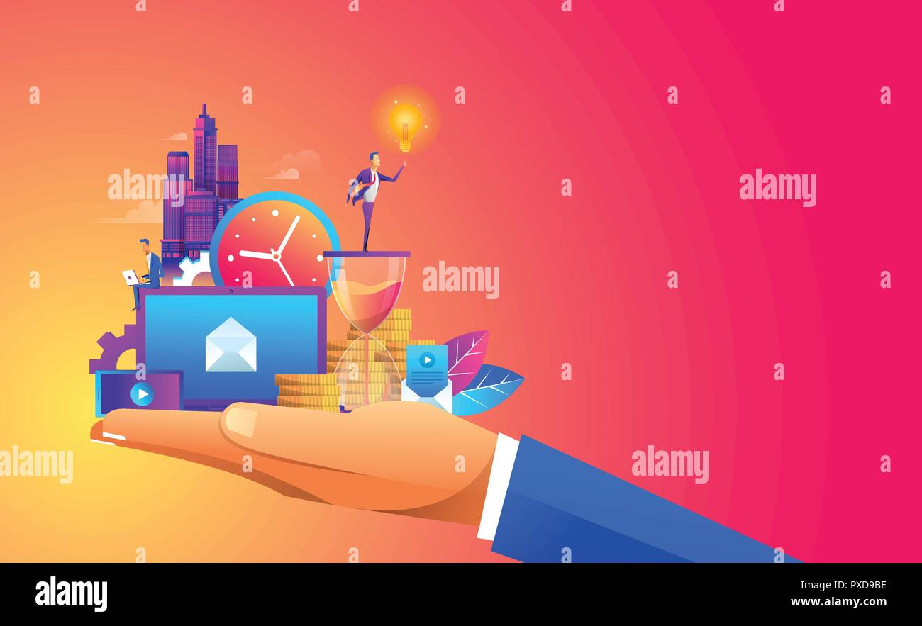 Hand holding a business ,digtal object and with a contemporary smart city and apps icons. Augmented reality and internet of things concept Stock Vector