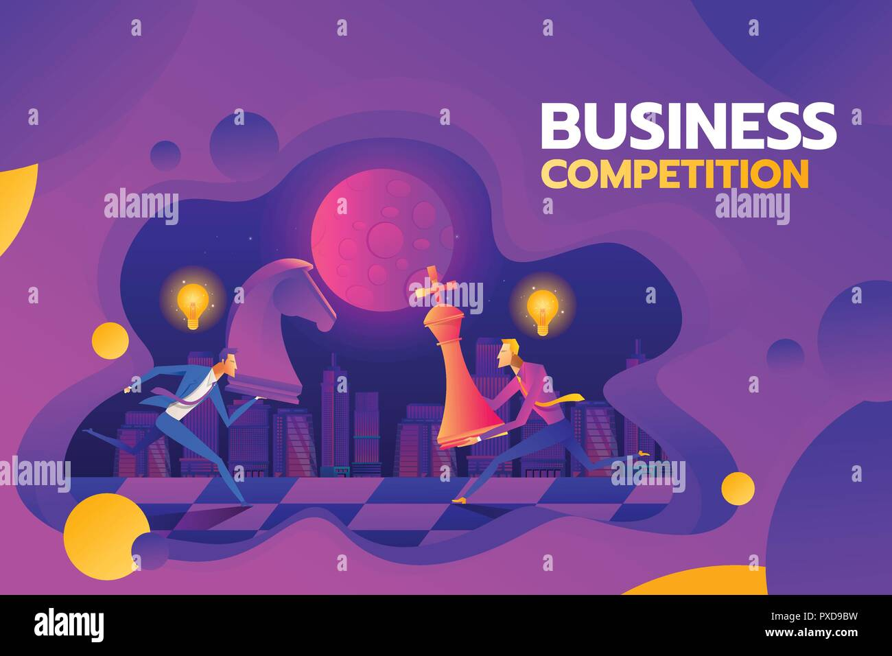 Concept of business competition. Businessmen hold chess pieces in hands of punching as a symbol of rivalry, competition, corporate conflict. Vector illustration, flat design. Hitting chess figures - Stock Vector