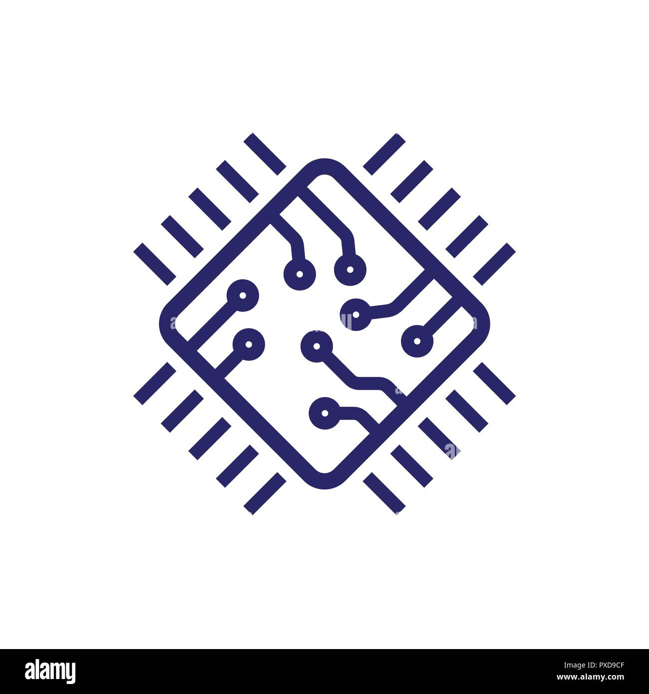 Processor line vector icon for websites and mobile minimalistic flat design. Mini CPU Icon Flat Style. Mobile CPU Vector. Phone CPU Illustration. Basic CPU Icon. Editable Stoke - Stock Vector