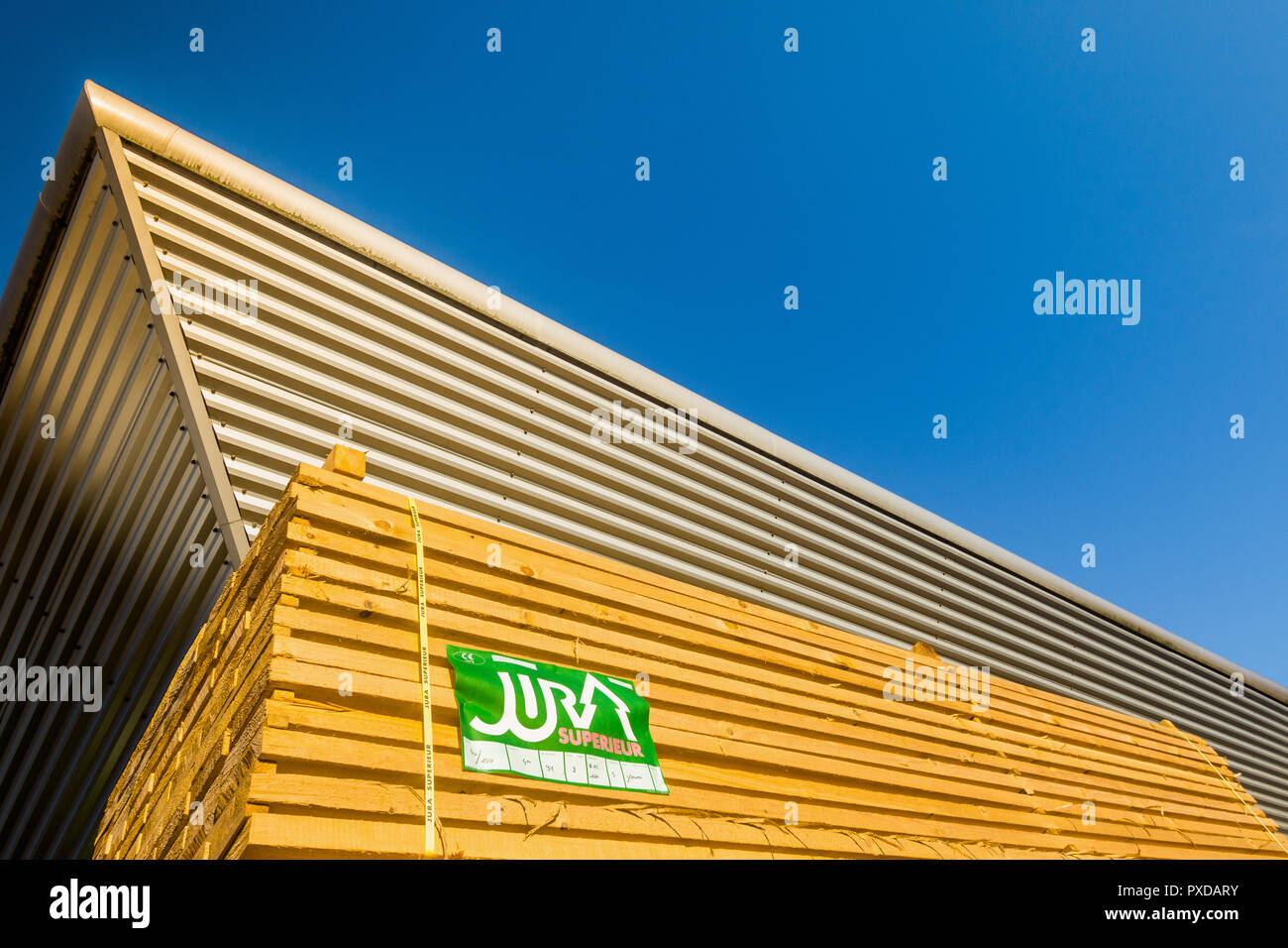 'Jura Superior' softwood timber for building construction - France. - Stock Image