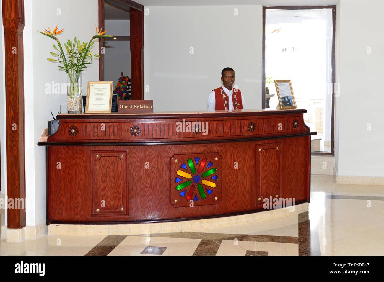 SHARM EL SHEIKH, EGYPT -  NOVEMBER 28: The lobby of Baron Palms luxury hotel and smiling receptionists on November 28, 2012 in Sharm el Sheikh, Egypt. - Stock Image