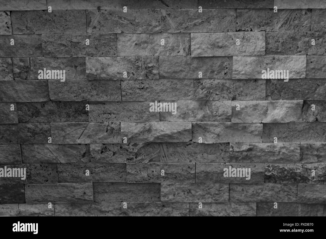 Plastic wall covers like stone brick - Stock Image